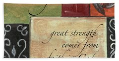 Words To Live By Strength Beach Towel