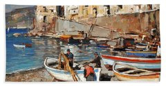Work Never Ends For Amalfi Fishermen Beach Towel