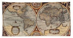 World Map 1636 Beach Sheet by Photo Researchers