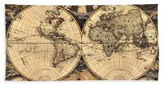 World Map 1666 Beach Towel by Andrew Fare