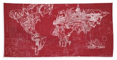 Beach Towel featuring the digital art World Map Blueprint 3 by Bekim Art