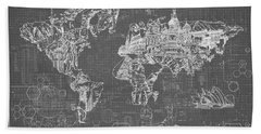 Beach Towel featuring the digital art World Map Blueprint 5 by Bekim Art