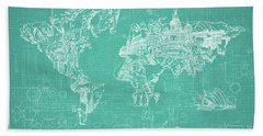 Beach Towel featuring the digital art World Map Blueprint 7 by Bekim Art