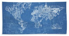 Beach Towel featuring the digital art World Map Blueprint by Bekim Art