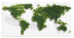 World Map Made Of Green Trees Beach Towel