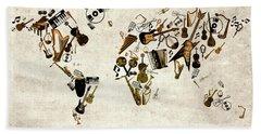 Beach Sheet featuring the digital art World Map Music 1 by Bekim Art