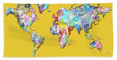 Beach Towel featuring the digital art World Map Music 13 by Bekim Art