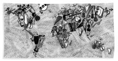 Beach Sheet featuring the digital art World Map Music 2 by Bekim Art