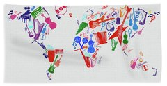 Beach Towel featuring the digital art World Map Music 3 by Bekim Art