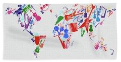 Beach Sheet featuring the digital art World Map Music 3 by Bekim Art