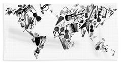 Beach Sheet featuring the digital art World Map Music 7 by Bekim Art