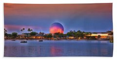 World Showcase Lagoon Sunset Mp Beach Towel