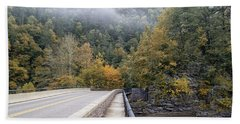 Worlds Ends Exit Road In The Fall Beach Towel