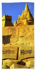 Worlds Largest Sand Castle Sun News Beach Towel by Bob Pardue