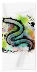 Worm Illustration Beach Towel