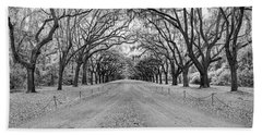 Beach Towel featuring the photograph Wormsloe Pathway by Jon Glaser