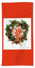 Beach Towel featuring the digital art Wreath With Bow by Lise Winne