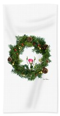 Beach Towel featuring the digital art Wreath With Rose by Lise Winne