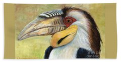 Wreathed Hornbill  Beach Towel