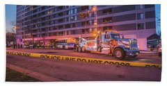 Wrecker And The Wreck At Dusk Beach Towel by Jeff at JSJ Photography