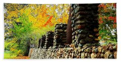 Wright Park Stone Wall In Fall Beach Towel