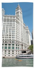 Wrigley Building Overlooking The Chicago River Beach Sheet