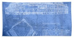 Wrigley Field Chicago Illinois Baseball Stadium Blueprints Beach Towel