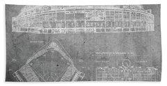 Wrigley Field Chicago Illinois Baseball Stadium Blueprints Gray Beach Towel