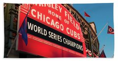 Wrigley Field World Series Marquee Angle Beach Towel by Steve Gadomski
