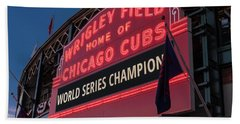 Wrigley Field World Series Marquee Beach Towel by Steve Gadomski
