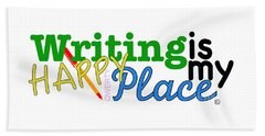 Writing Is My Happy Place Beach Towel by Shelley Overton