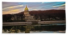 Wv State Capitol At Dusk Beach Sheet