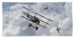 Beach Towel featuring the photograph Ww1 - Fokker Dr1 - Predator by Pat Speirs