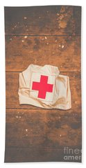 Ww2 Nurse Cap Lying On Wooden Floor Beach Towel