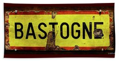 Wwii Bastogne Town Sign Beach Towel