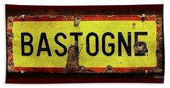 Wwii Bastogne Town Sign Beach Sheet