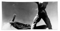 Wwii, North American P-51 Mustang, 1940s Beach Towel