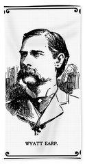 Beach Sheet featuring the mixed media Wyatt Earp Newspaper Portrait  1896 by Daniel Hagerman