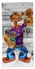 Wynn Popeye Statue Black White And Color By Jeff Koons Beach Sheet