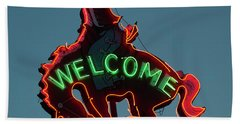 Wyoming Cowboy Vintage Neon Sign Beach Towel