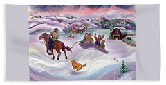 Wyoming Ranch Fun In The Snow Beach Towel