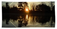 X Marks The Spot Sunrise Reflection Beach Towel by Kent Lorentzen
