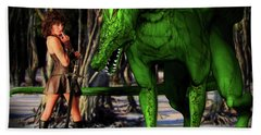 Xena And The Green Dragon Beach Towel