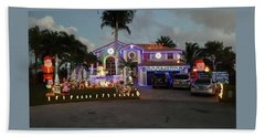 Xmas House Beach Towel by Val Oconnor