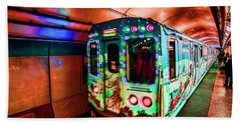 Xmas Subway Train Beach Towel