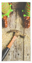 Xmas Workshop Elf Beach Towel