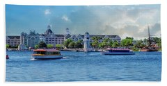 Yacht And Beach Club Walt Disney World Beach Towel by Thomas Woolworth