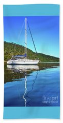 Beach Towel featuring the photograph Yacht Reflecting By Kaye Menner by Kaye Menner