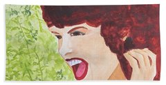 Beach Towel featuring the painting Yah by Sandy McIntire