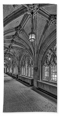 Beach Towel featuring the photograph Yale University Cloister Hallway II Bw by Susan Candelario
